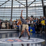 Cam Clark competing at the Red Bull Paper Planes World Finals