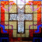 A closeup of a decorative chapel window