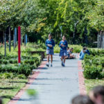Two Luther College students walk down a foliage-lined pathway